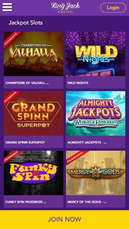King Jack Casino Mobile Jackpots