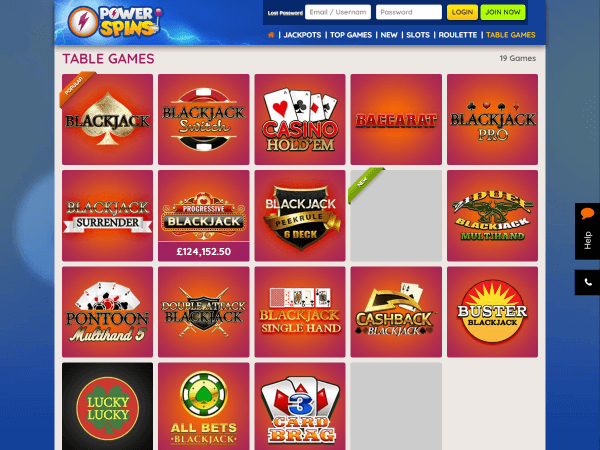 Powerspins Desktop Table Games