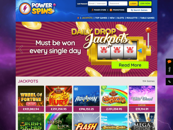Powerspins Desktop Daily Drop Jackpots