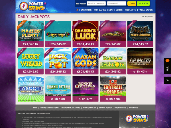 Powerspins Desktop Daily Jackpots