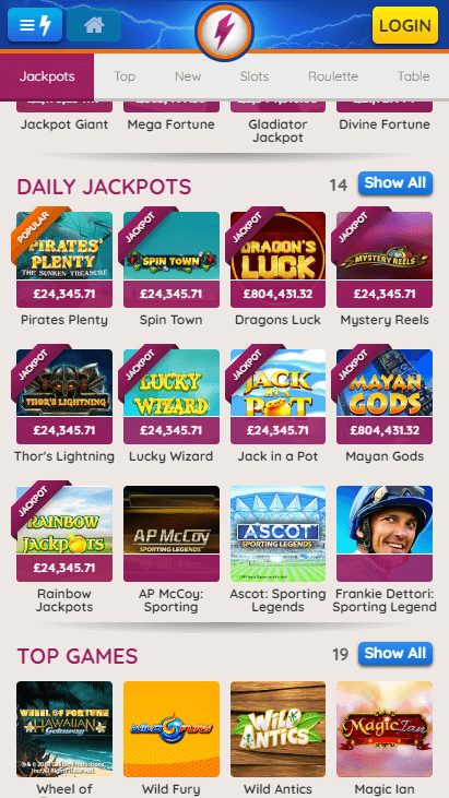 Powerspins Mobile Daily Jackpots