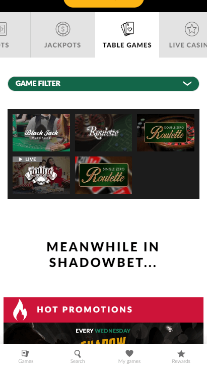 Shadowbet Casino Mobile Table Games