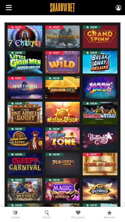 Shadowbet Casino Mobile Games