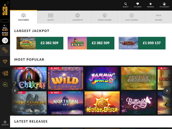 Shadowbet Casino Desktop Home