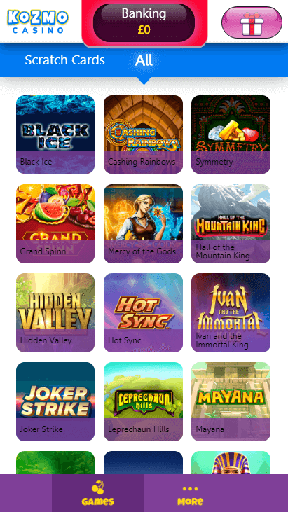 Kozmo Casino Mobile - Games