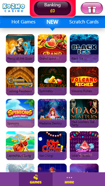 Kozmo Casino Mobile - New Games