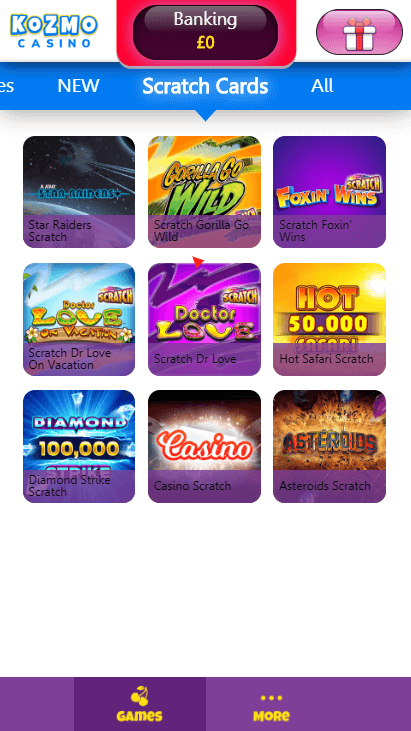 Kozmo Casino Mobile - Scratchcards