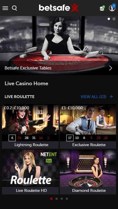 Betsafe Mobile - Live Casino