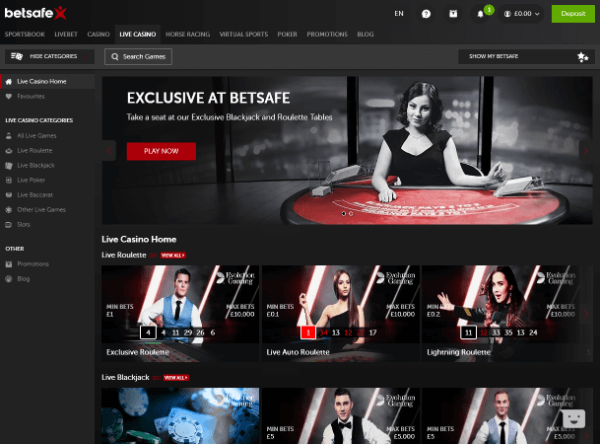 Betsafe Desktop - Live Casino