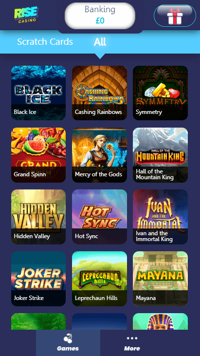 Rise Casino Mobile - Games 1