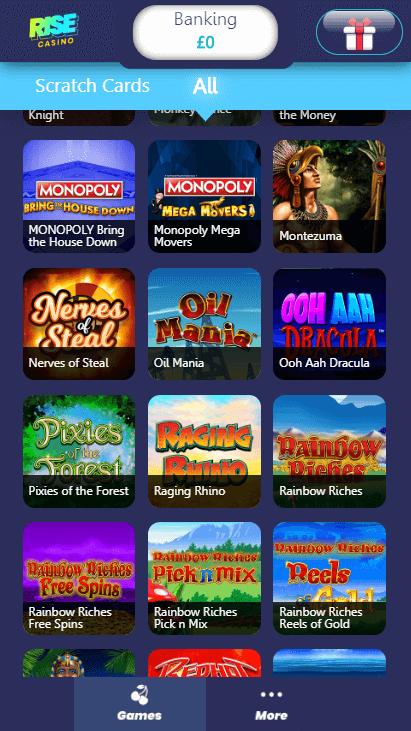 Rise Casino Mobile - Games 2