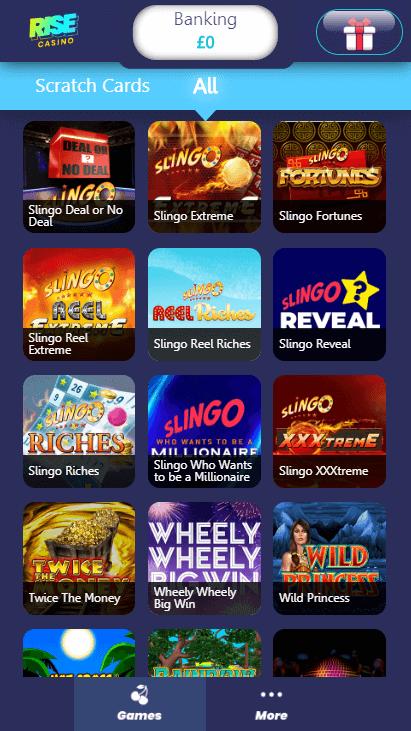 Rise Casino Mobile - Games 4