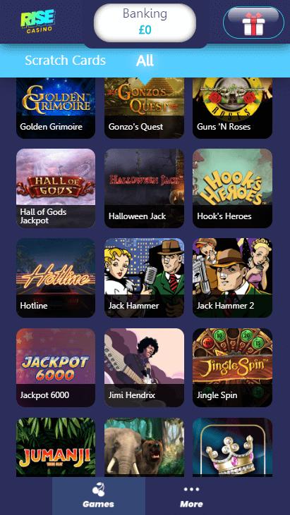 Rise Casino Mobile - Games 5