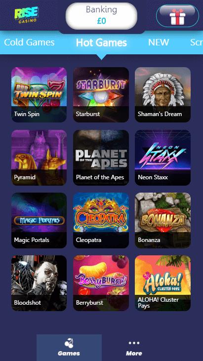 Rise Casino Mobile - Hot Games
