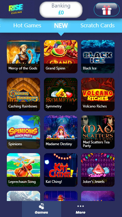 Rise Casino Mobile - New Games