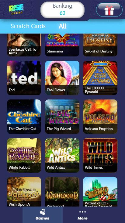 Rise Casino Mobile - Games 3