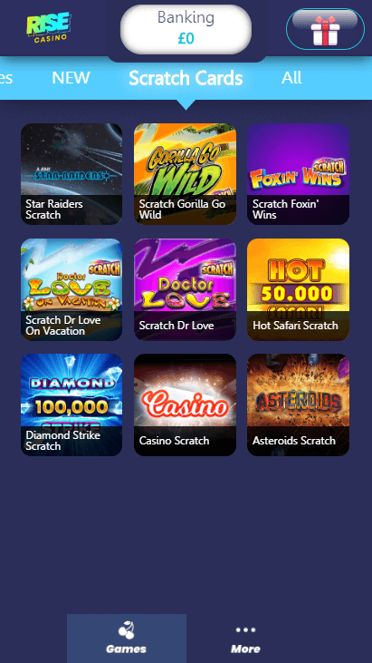 Rise Casino Mobile - Scratchcards