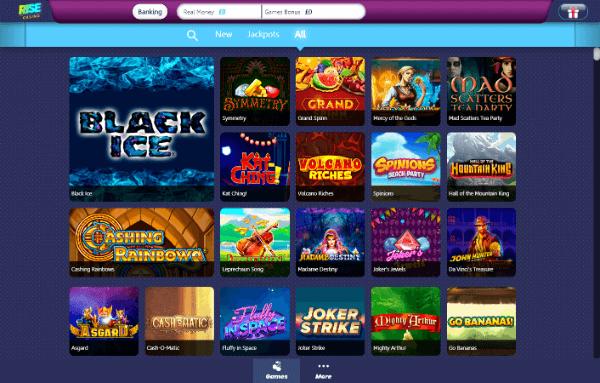 Rise Casino Desktop - Games 1