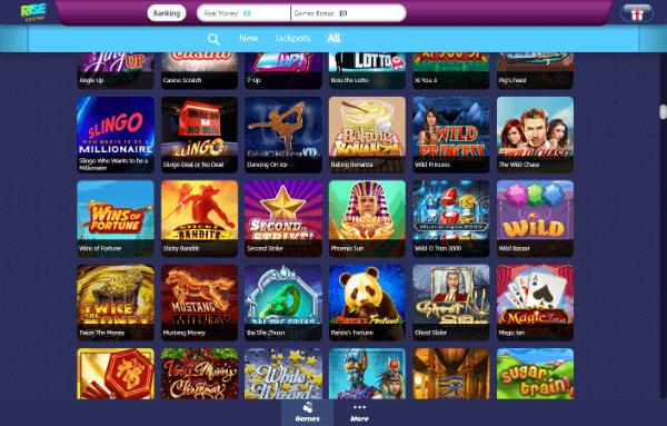 Rise Casino Desktop - Games 2