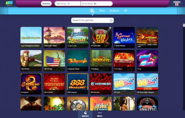Rise Casino Desktop - Home
