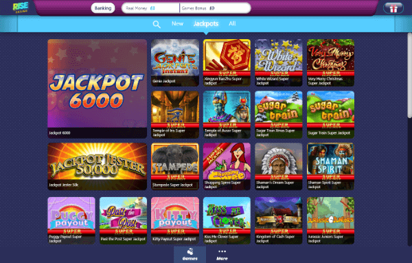 Rise Casino Desktop - Jackpots