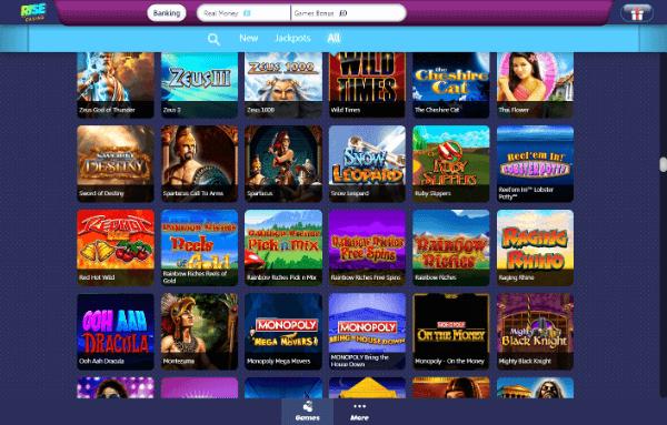 Rise Casino Desktop - Games 3