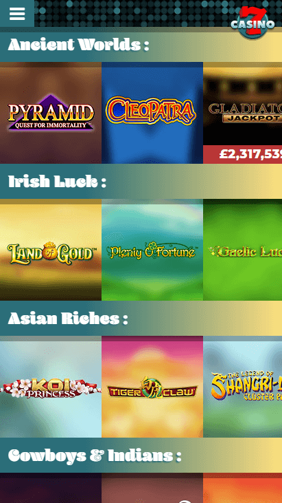 7Casino Mobile - Games Categories