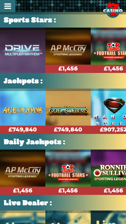 7Casino Mobile - Games Categories 2