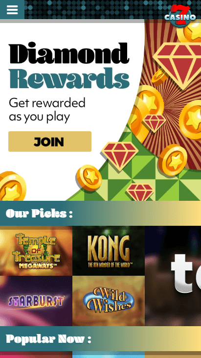 7Casino Mobile - Homepage
