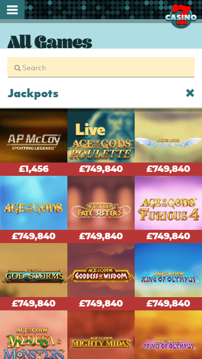 7Casino Mobile - Jackpots