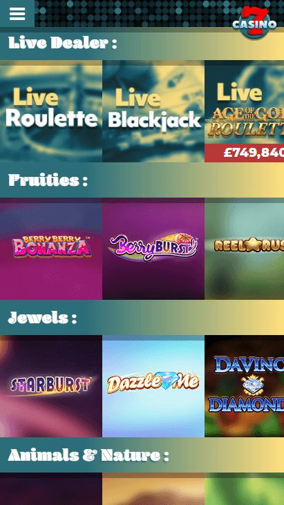 7Casino Mobile - Games Categories 3