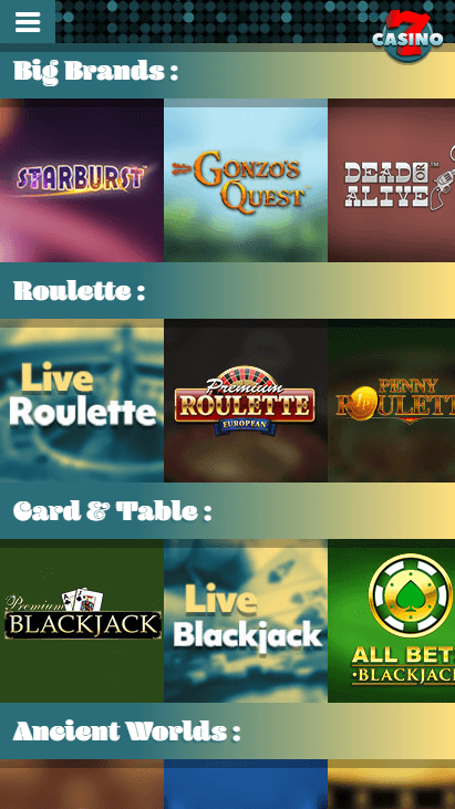 7Casino Mobile - Popular Games