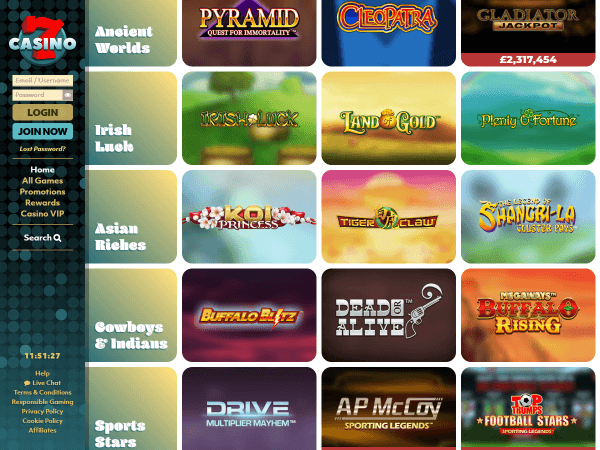 7Casino Desktop - Game Categories