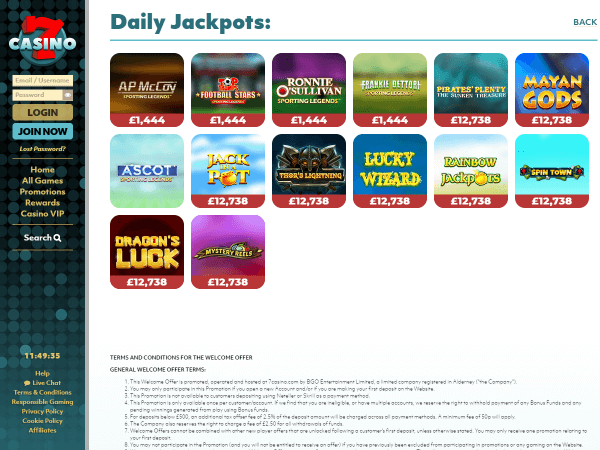 7Casino Desktop - Daily Jackpots