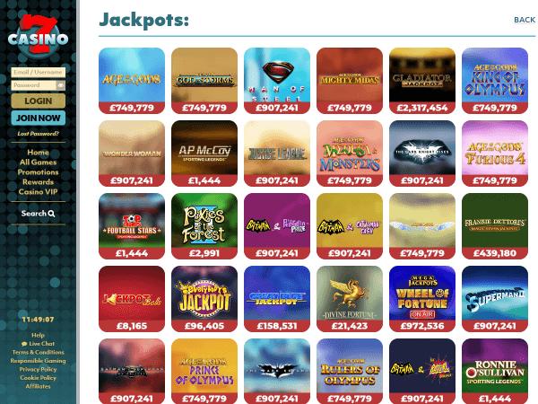 7Casino Desktop - Jackpots