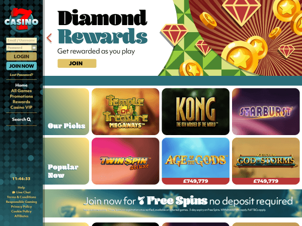7Casino Desktop - Homepage