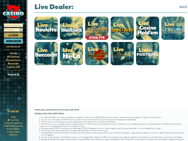 7Casino Desktop - Live Games