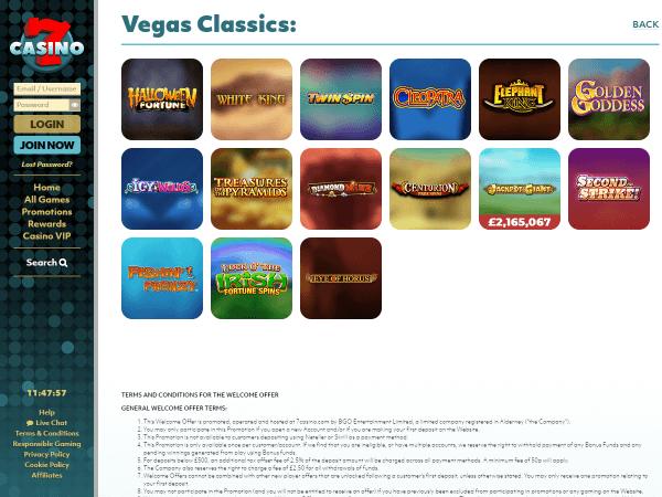 7Casino Desktop - Vegas Classics