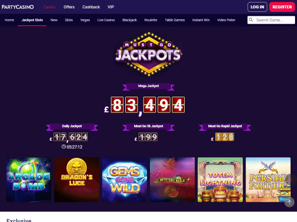 Party Casino Desktop - Must Go Jackpots