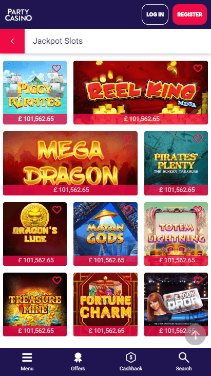 Party Casino Mobile - Jackpots