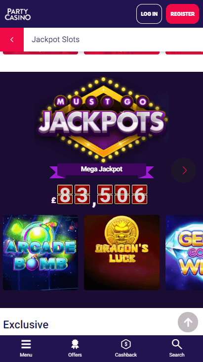 Party Casino Mobile - Must Go Jackpots