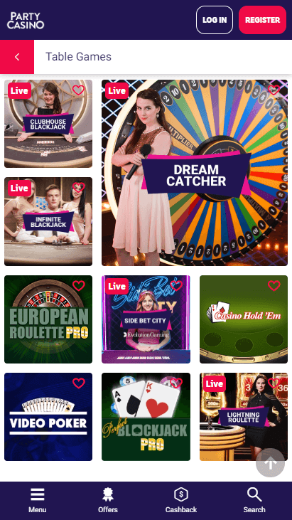 Party Casino Mobile - Table Games