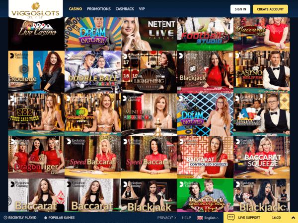 Viggoslots Desktop - Live Casino