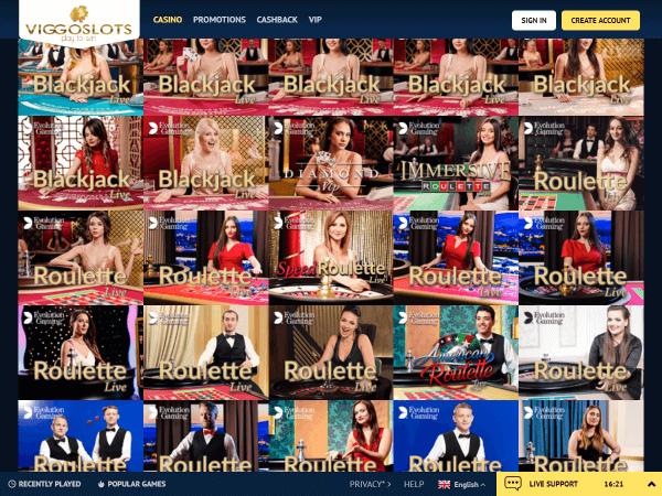 Viggoslots Desktop - Live Casino 2
