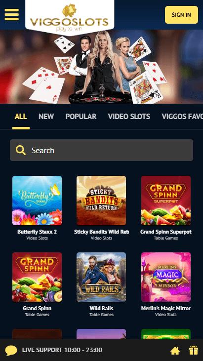 Viggoslots Mobile - Homepage