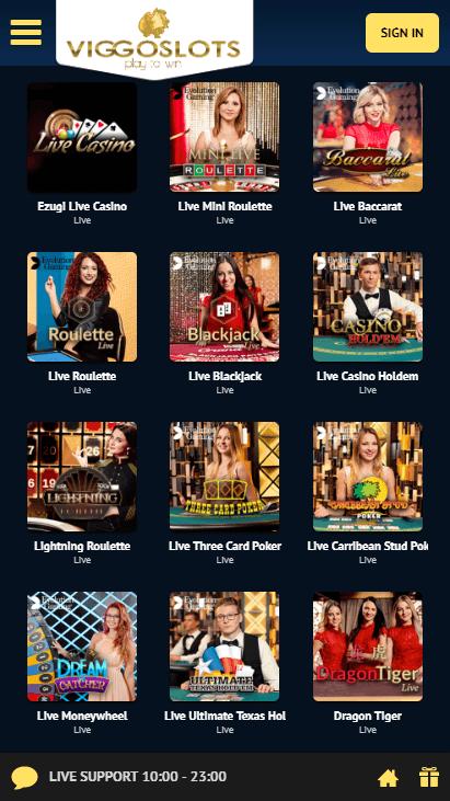 Viggoslots Mobile - Live Casino