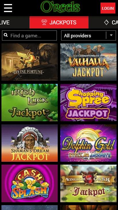 O'Reels Casino Mobile - Jackpots
