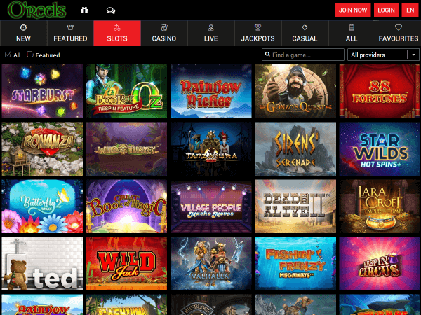 O'Reels Casino Desktop - Slots Games