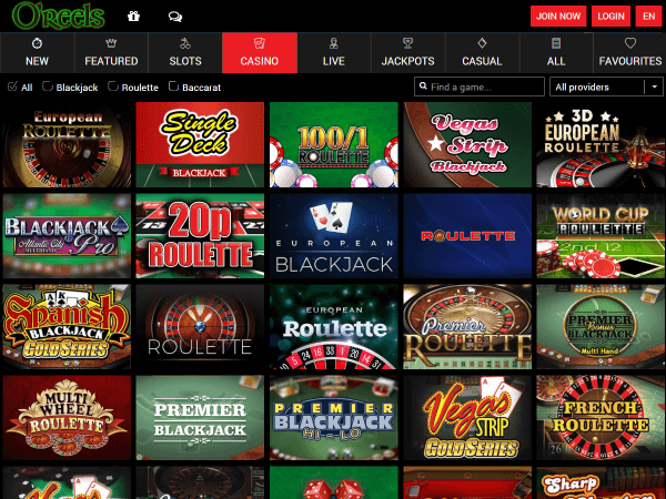 O'Reels Casino Desktop - Casino Games