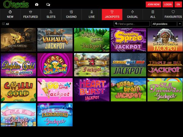 O'Reels Casino Desktop - Jackpots